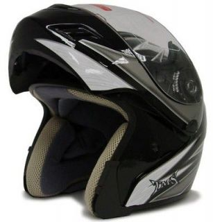 TRIBAL BLACK MODULAR FLIP UP FULL FACE MOTORCYCLE HELMET DOT ~XL