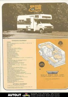 1971 1972 Mini Mobile Scout Dodge Motorhome RV Camper Brochure