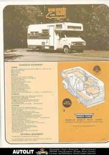 1971 1972 Mini Mobile Scout Dodge Motorhome RV Camper Brochure
