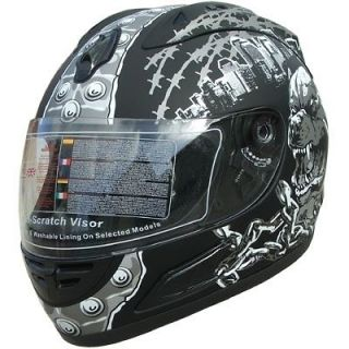 Motorcycle Full Face Sport Helmets DOT Monster 134 Matt Black
