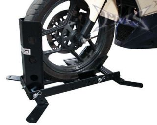 ADJUSTABLE MOTORCYCLE TRAILER WHEEL CHOCK BIKE STAND CRADLE CYCLE