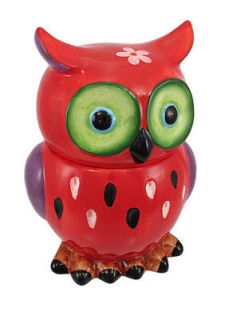 Adorable Red / Purple Owl Ceramic Cookie Jar
