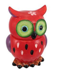 Adorable Red / Purple Owl Ceramic Cookie Jar