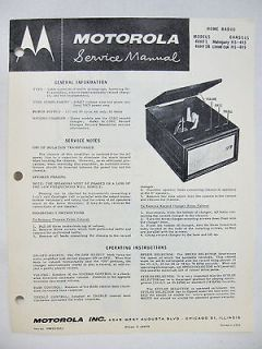 MOTOROLA 46HF1 46HF1B RECORD PLAYER PHONOGRAPH Original SERVICE MANUAL