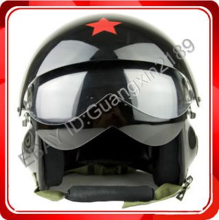 New Gloss Black Jet Pilot Motorcycle Scooter Open Face Helmet S M L XL
