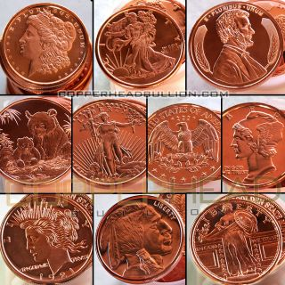 20) Mixed 1oz Copper Coins Panda Morgan Peace Walking Liberty Indian