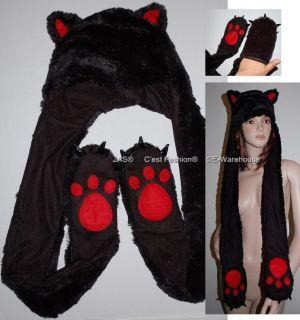 Trooper Ski Costume Faux Fur Kid Animal Hood Hat wt Gloves Claws Wolf