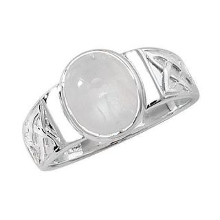 SILVER CELTIC DESIGN OVAL MOONSTONE RING *VARIOUS SIZES* FREE POST