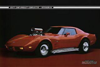 1977 Chevrolet Corvette Red C3 Blower Hot Rod Side Pipes Poster Print