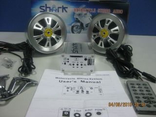 shark shkdc2050a motorcycle audio system 100 w amp w/ 3 speakers usb