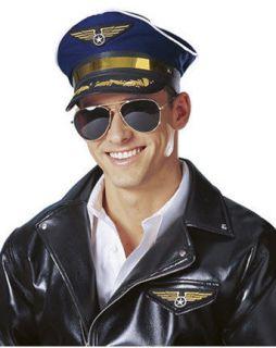 NAVY BLUE ADULT MENS PILOT CAPTAIN AVIATOR AIR FORCE COSTUME HAT CAP