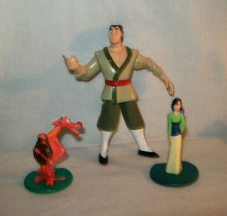 lot of 3 Mulan toy figures Mushu, Shang Li Army Soldier, Princess