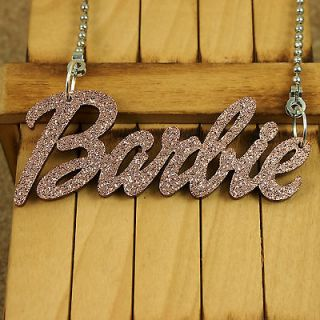 BROWN ACRYLIC PENDANT KITSCH BARBIE NAME NECKLACE JEWELRY NICKI MINAJ