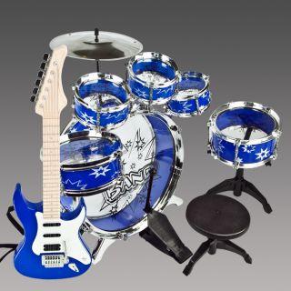 Drum Set Girl Musical Instrument Toy Blue Boys Music Band Children