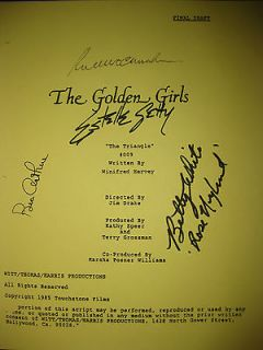The Golden Girls Signed TV Script Betty White Bea Arthur Rue