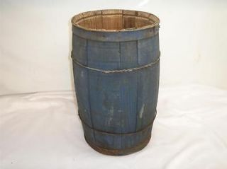 Antique Primitive Wood NAIL BARREL Metal Hoops
