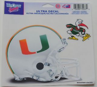 of Miami Hurricanes Window Cling Sticker Decal NCAA college football