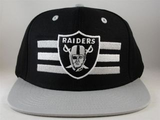 NFL OAKLAND RAIDERS LOGO STRIPE RETRO REEBOK FLAT BILL SNAPBACK HAT
