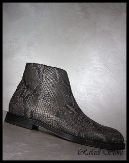 JIMMY CHOO Men Shoes Ankle Boot Anthracite Leather Print Snake Top
