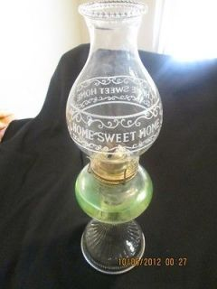 Vintage Antique Glass Oil Lamp & Hurricane with EAGLE burner 18in tall