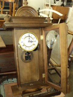 31 Day Wall Clock Wind Up Spring Missing Key And Pendulum Estate Find