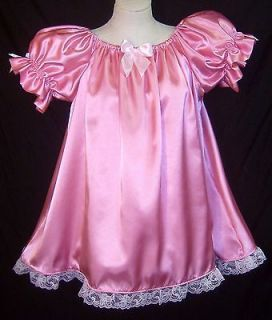 ADULT SISSY BABY PRINCESS PINK SATIN BABYDOLL STYLE DRESS NIGHTIE
