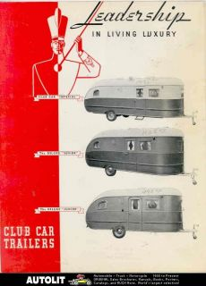 1936 ? Club Car Travel Trailer Brochure Champagne Illinois