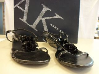 Anne Klein New Womens Zeta Black Wedge Sandals 9 M Shoes