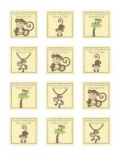 24 Personalized CoCaLo Monkey Time Baby Shower Favor Stickers
