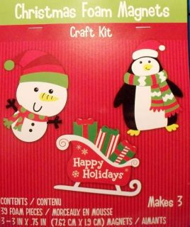 NEW CRAFT KIT 3 CHRISTMAS FOAM MAGNET DECORATIONS Craft Art Easy Kids
