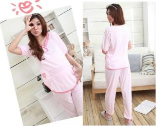 New Maternity Nursing pyjama sets top AND pants pink red cotton 07231