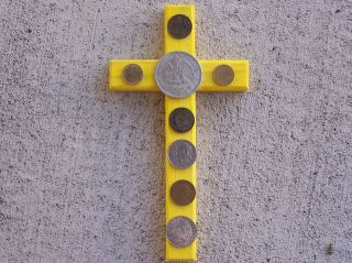 Attract Wealth! Folk Cross with Old Mexican Coins, Mexico   Yellow