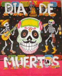 OF THE DEAD FABRIC TABLE BANNER ALTER CLOTH TABLECLOTH DIA DE MUERTOS
