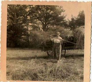 Old Vintage Antique Photograph Woman With Pitch Fork Baling Hay on