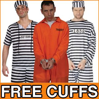 Robber Mens Stag Fancy Dress Prisoner Suit Uniform Party Adult Costume