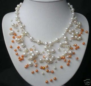 Charming Jewelry white/orange pearl necklace 18