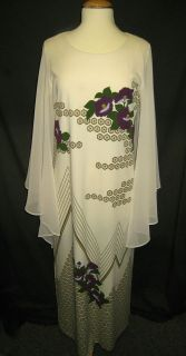 VINTAGE 1960S  70S ALFRED SHAHEEN BOHO MAXI BUTTERFLY GODDESS DRESS