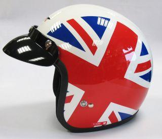 BRITAIN MOTORCYCLE MOTORBIKE OPEN FACE HELMET UNION JACK BRITISH FLAG