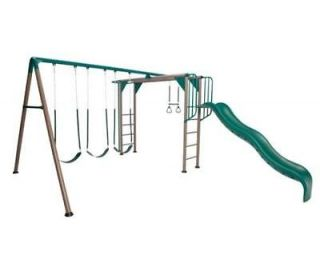 Lifetime Swing Set 90143 Monkey Bar Playground with Slide Earth Tones