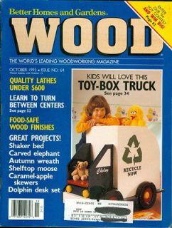 1993 Wood Magazine Toy Box Truck/Shaker Bed/Carved Elephant/Autumn