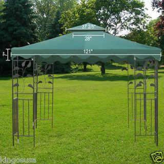 New 10x10 Replacement Gazebo Patio Canopy Top 2 Tier Green Cover