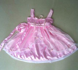 PRETTY BABYDOLL PINK SATIN/SHEER SISSY DRESS * L SIZE