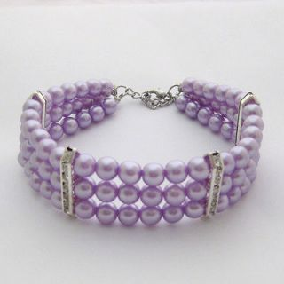 Rows purple dog pearls necklace,pet collar,dog jewelry