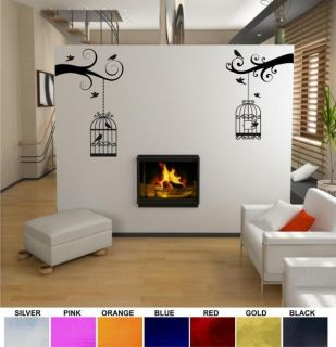 TWIN BIRD CAGE WALL DECAL CHROME VINYL STICKER #BC2