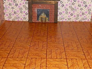 Triang Lines Dolls House Wallpaper: Parquet floor paper