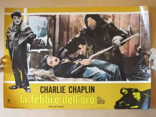 VINTAGE 1953 CHARLIE CHAPLIN GOLD RUSH ITALIAN FILM MOVIE POSTER V