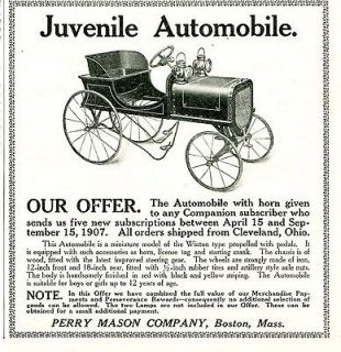1907 AD   IRON Wheeled PEDAL CAR with Crank. Miniature Kids WINTON
