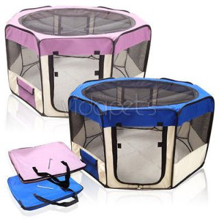 Wide Blue Pink 2 Door Soft Pet Playpen Dog Guinea Pig Puppy Exercise
