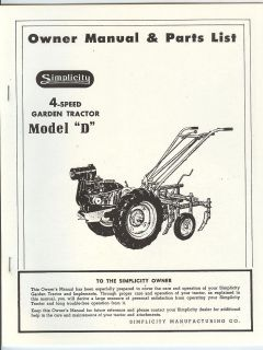Simplicity Model D 4 Speed Garden Tractor Owners Manual and Parts List