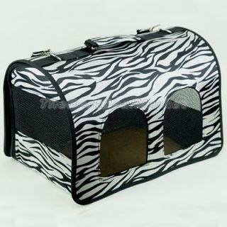 Zebra Pattern Zip Foldable Pet Carrier Dog Cage Puppy House 4 Colors U